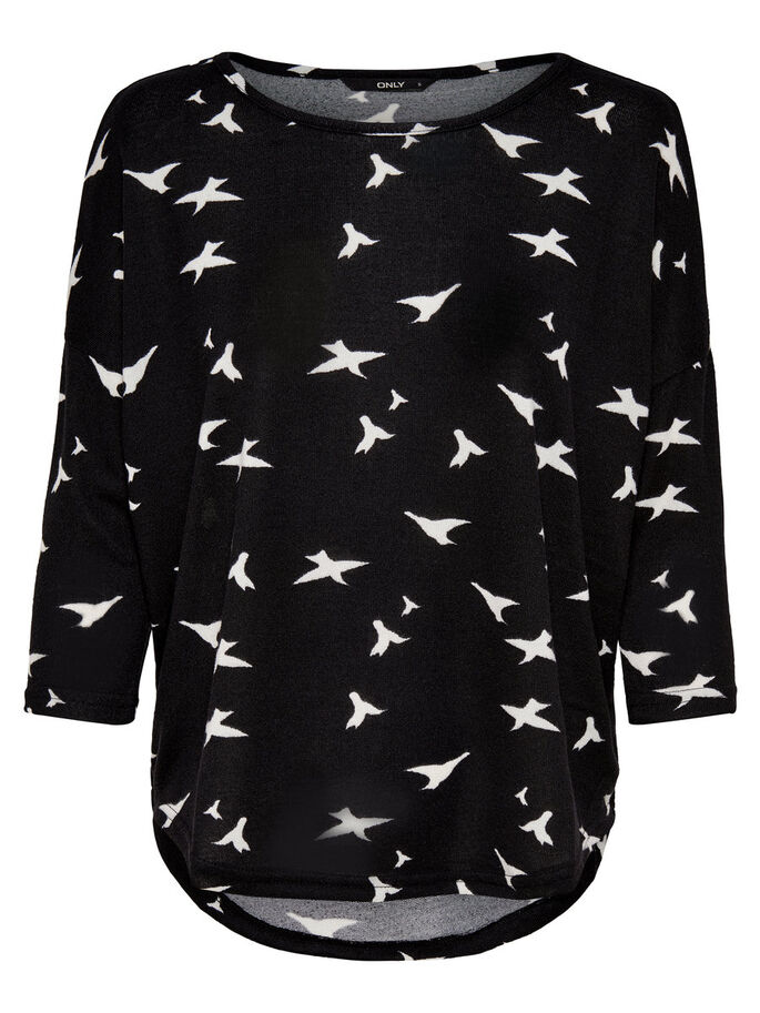 PRINTED 3/4 SLEEVED TOP, Black, large