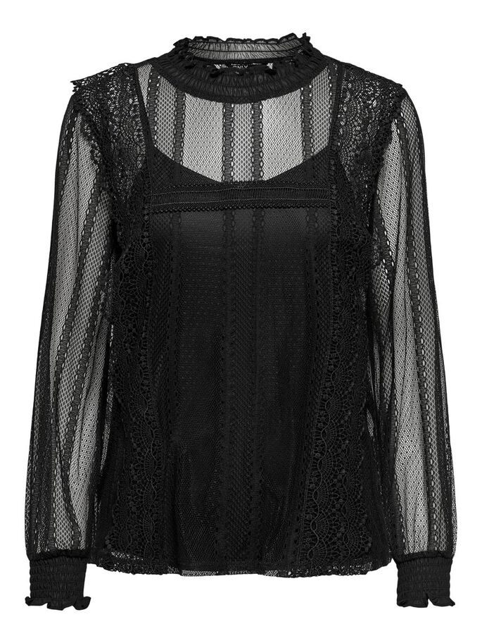 MESH LONG SLEEVED TOP, Black, large