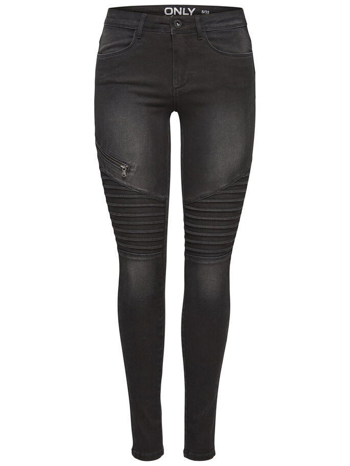 ROYAL REG BIKER SKINNY JEANS, Black, large