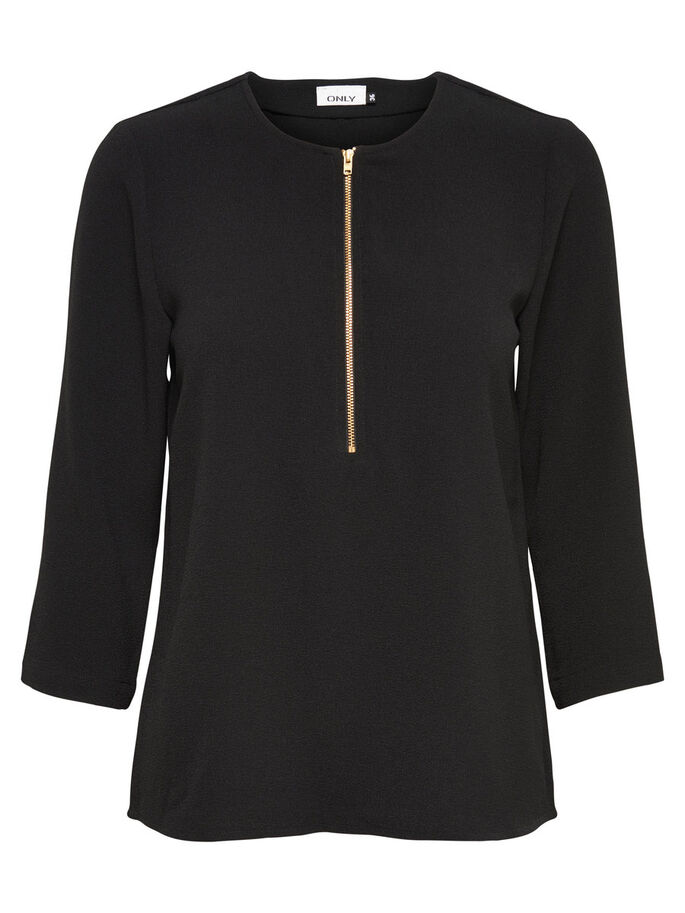 DETAILED 3/4 SLEEVED TOP, Black, large