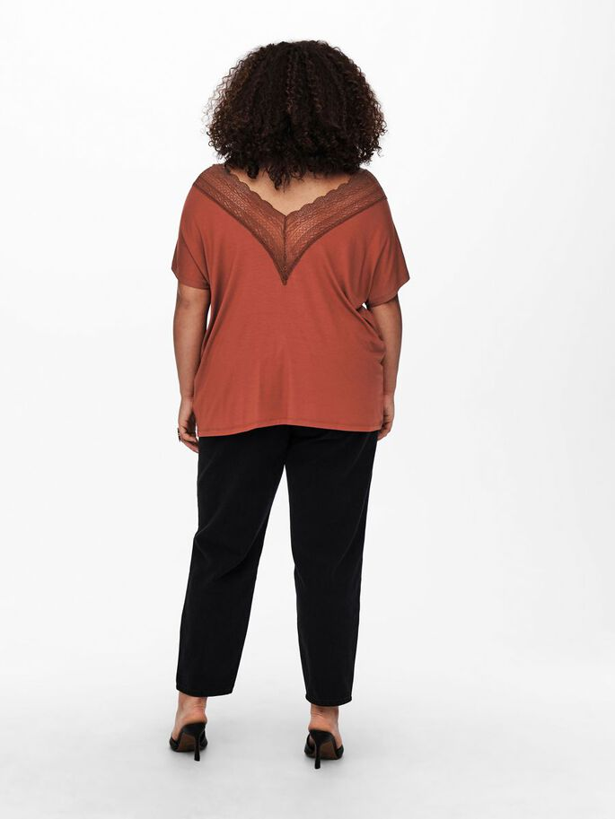 CURVY LACE TOP, Roasted Russet, large