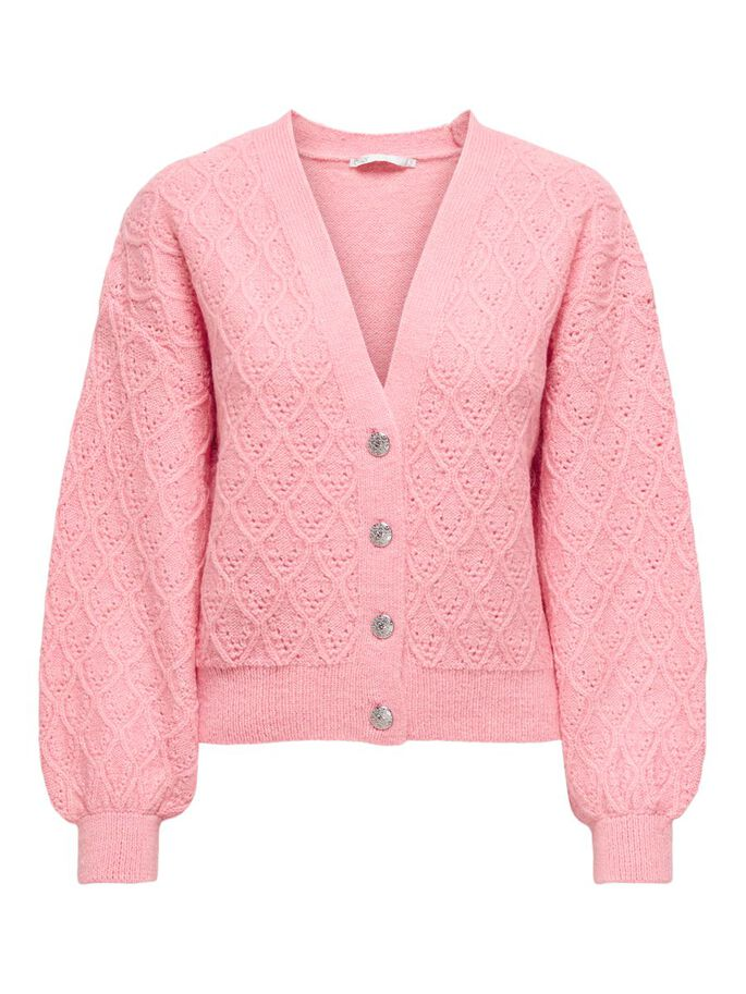 TEXTURE KNITTED CARDIGAN, Candy Pink, large