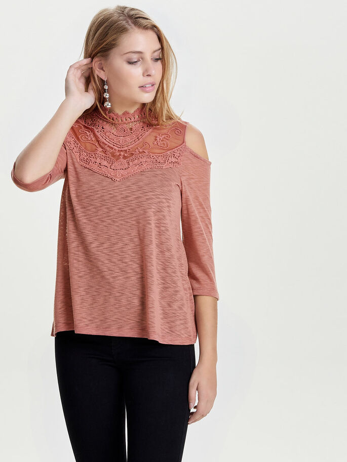 DETAILED 3/4 SLEEVED TOP, Light Mahogany, large