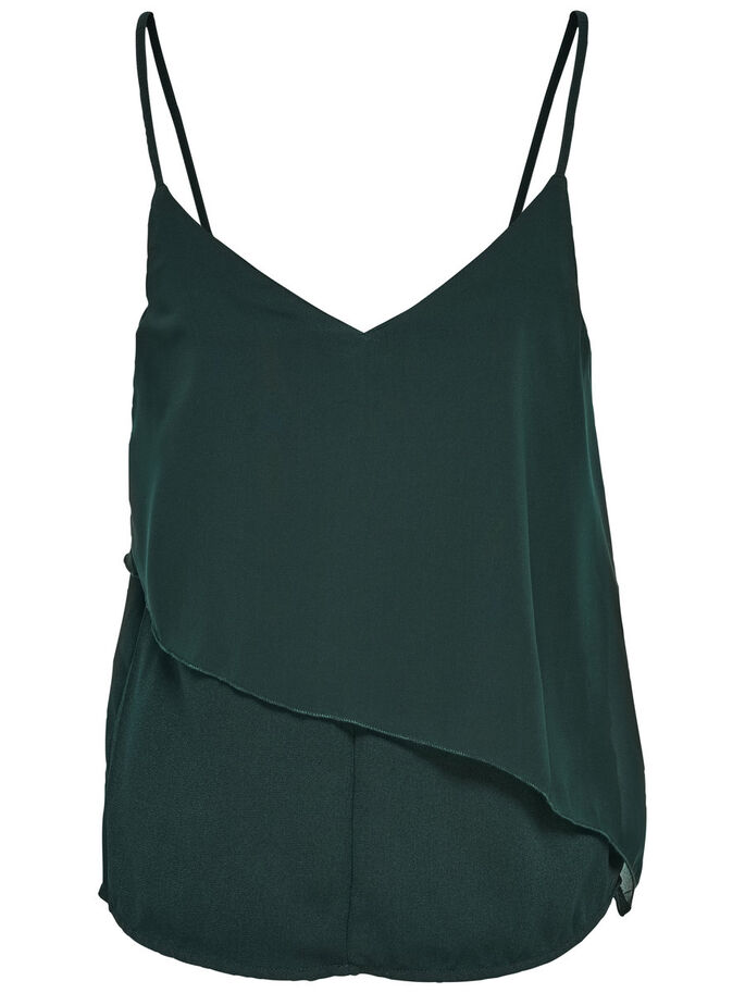 CHIFFON SLEEVELESS TOP, Scarab, large
