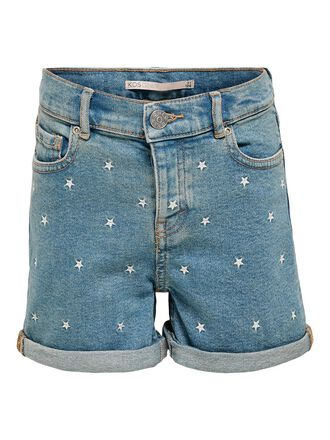 KONJOSIE LIFE HW EMBROIDERY DENIM SHORTS