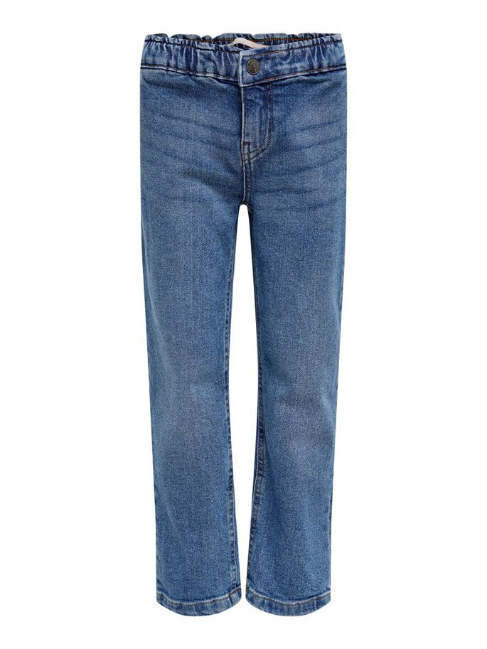 KONSKYLER FRILL WIDE ANKLE STRAIGHT FIT JEANS, Medium Blue Denim, large