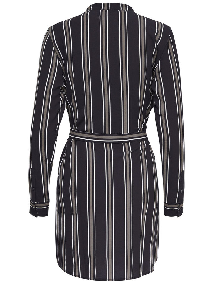 STRIPED LONG SLEEVED DRESS, Cloud Dancer, large