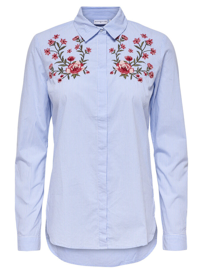 EMBROIDERY LONG SLEEVED SHIRT, Cloud Dancer, large