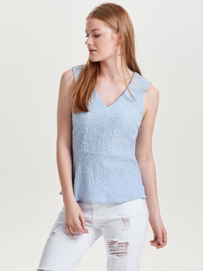 DETAILED SLEEVELESS TOP, Halogen Blue, large