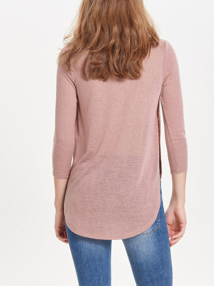 HIGH-LOW 3/4 SLEEVED TOP, Woodrose, large