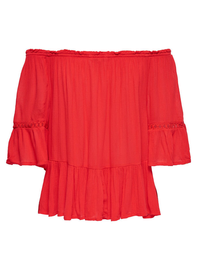 OFF SHOULDER SHORT SLEEVED TOP, Flame Scarlet, large