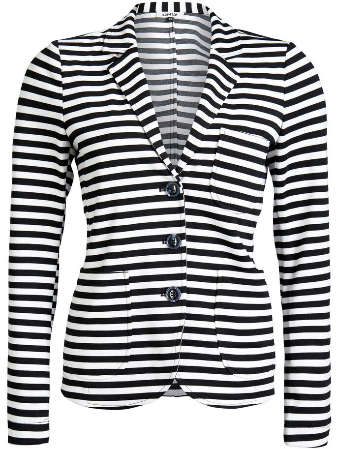 STRIPED BLAZER, Black, large