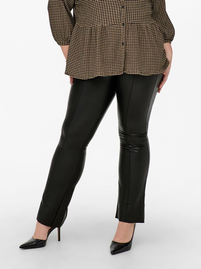 CURVY FAUX LEATHER TROUSERS, Black, large