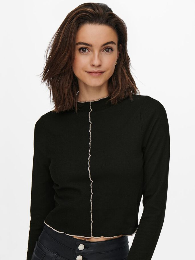 RACCOURCI MANCHES LONGUES TOP, Black, large