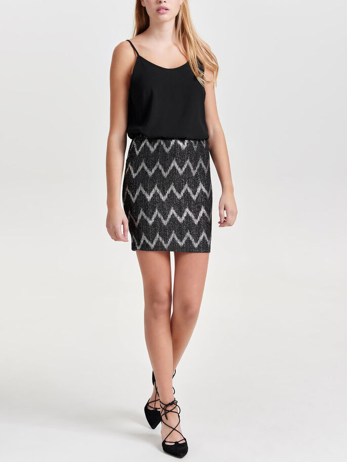 PRINTET SKIRT, Black, large