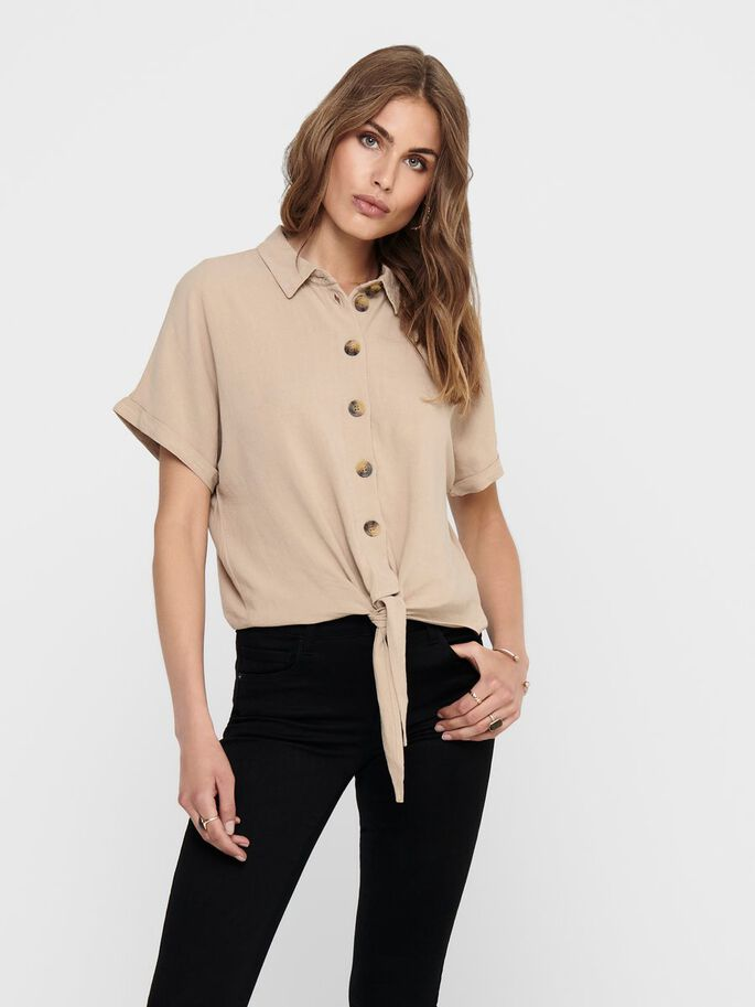 CROPPED TIE SHIRT, Humus, large