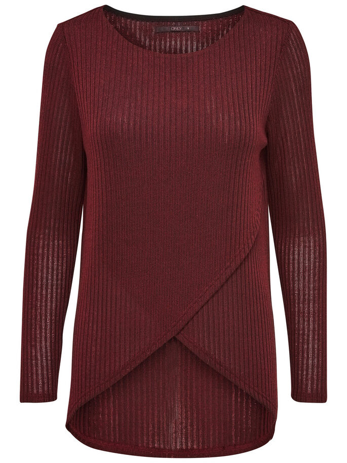 TWIST KNITTED PULLOVER, Syrah, large