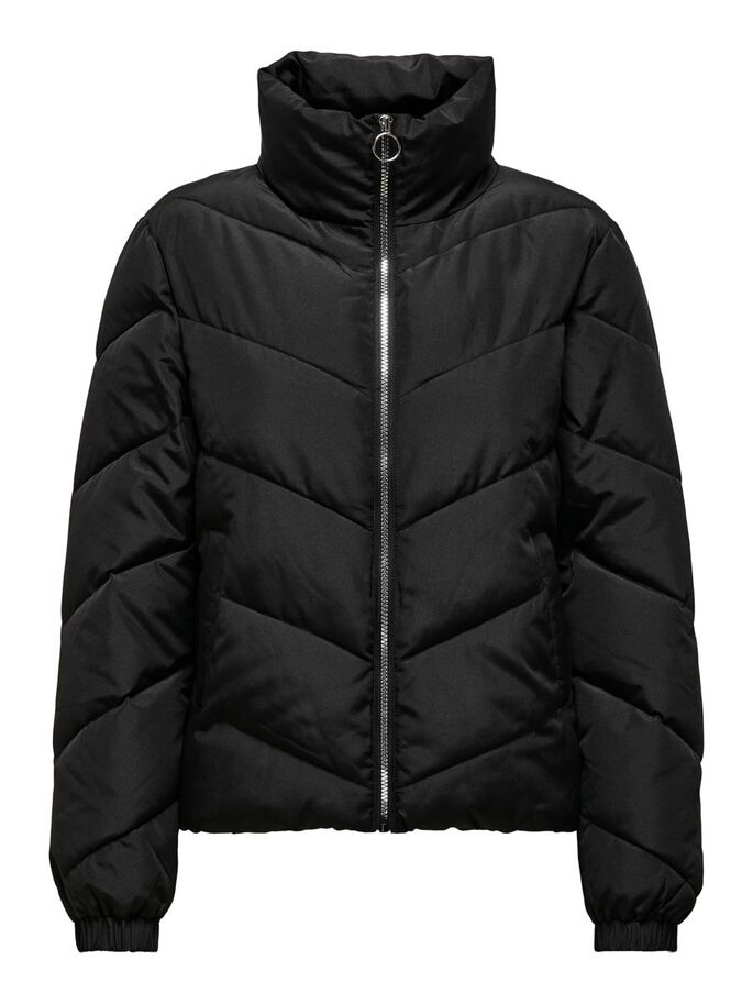 SHORT PUFFER JACKET, Black, large