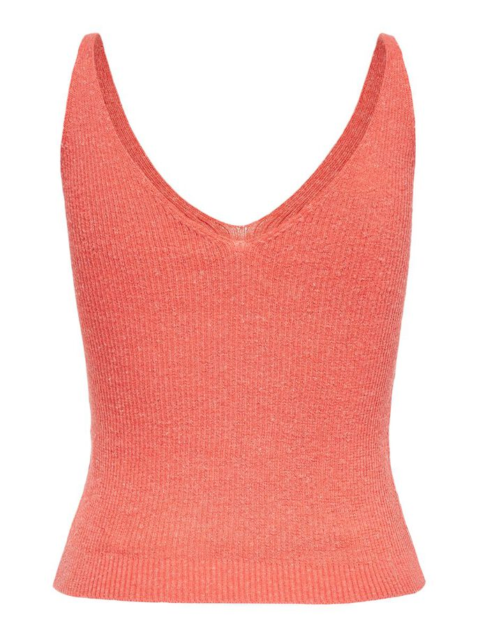 SLEEVELESS KNITTED TOP, Deep Sea Coral, large