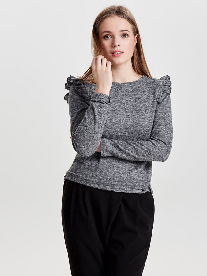 RYSJE STRIKKET PULLOVER, Dark Grey Melange, large