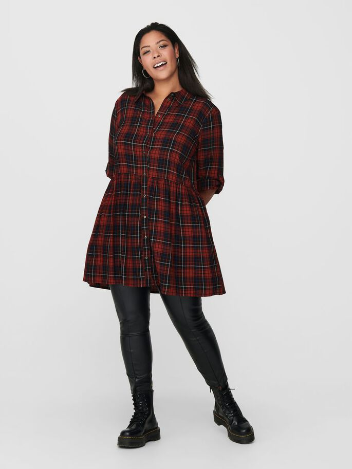 CURVY CHECKED DRESS, Black, large