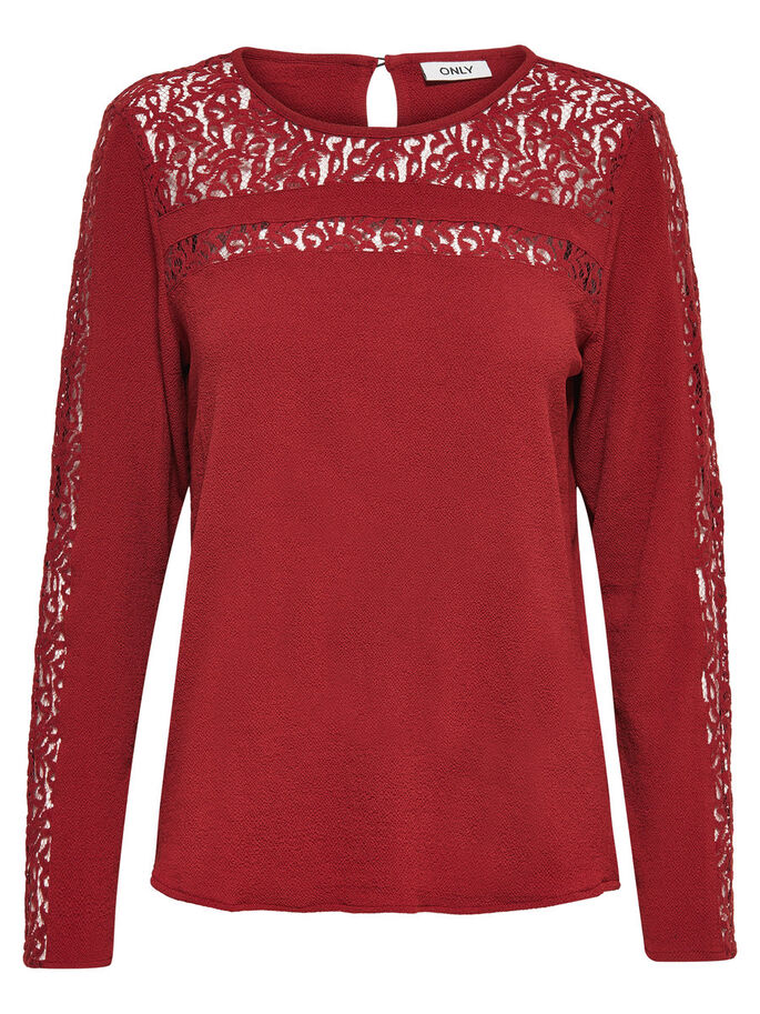 LACE LONG SLEEVED BLOUSE, Russet Brown, large