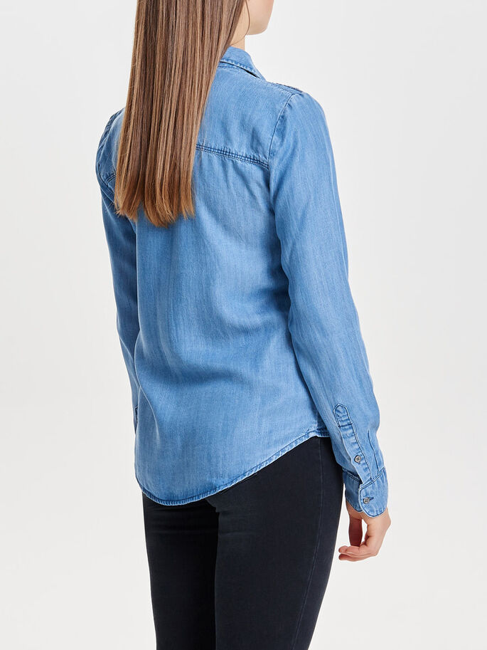 GEDETAILLEERDE SPIJKERBLOUSE, Medium Blue Denim, large