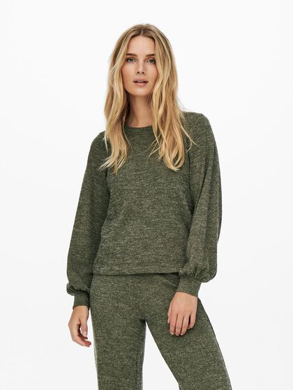 LONG SLEEVED RIB KNITTED TOP