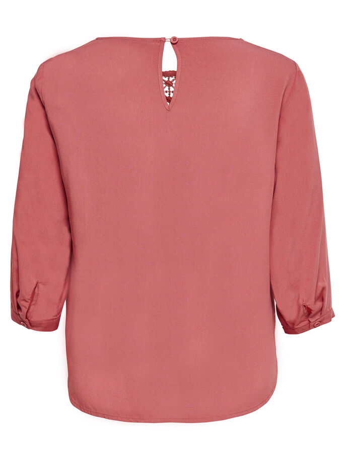 LACE DETAIL 3/4 SLEEVED TOP, Canyon Rose, large