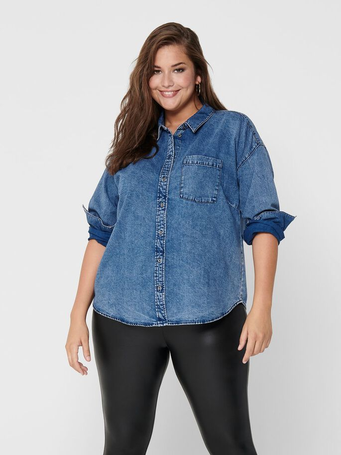 CURVY JEANSSKJORTA, Medium Blue Denim, large