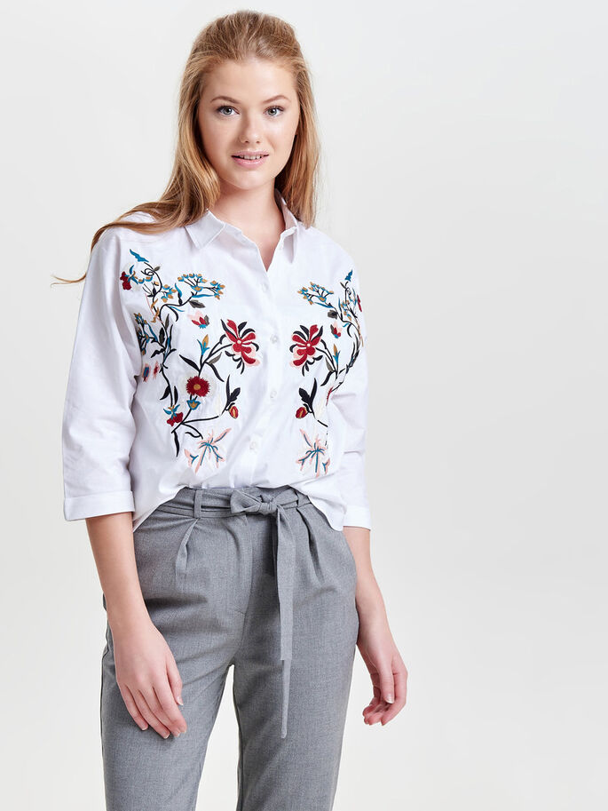 EMBROIDERY 3/4 SLEEVED SHIRT, Cloud Dancer, large