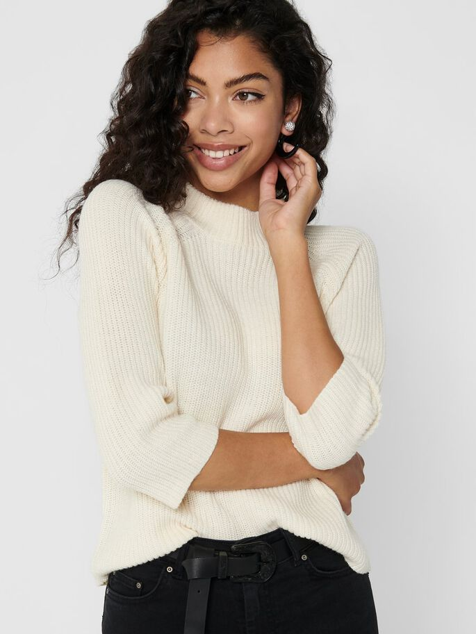 HIGH NECK KNITTED PULLOVER, Eggnog, large