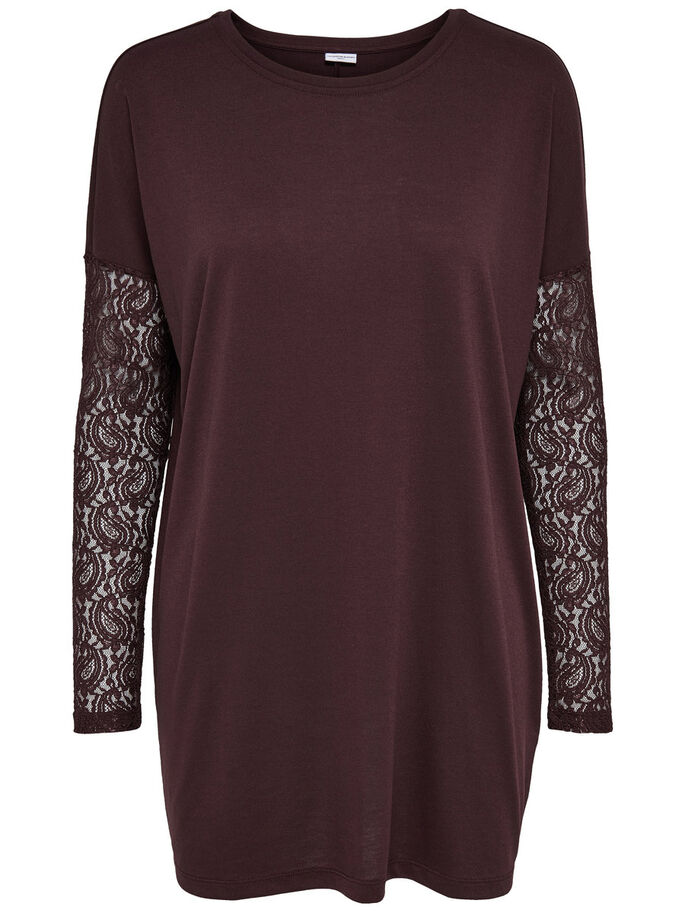 LACE LONG SLEEVED TOP, Fudge, large