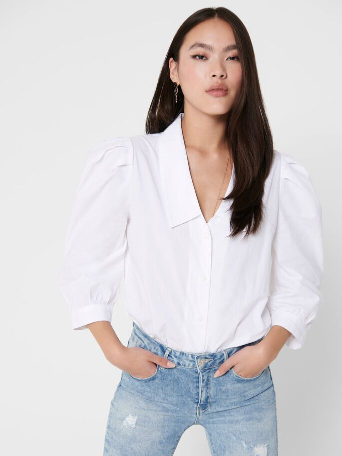 PUFF SLEEVED 3/4 SLEEVED SHIRT, Bright White, large