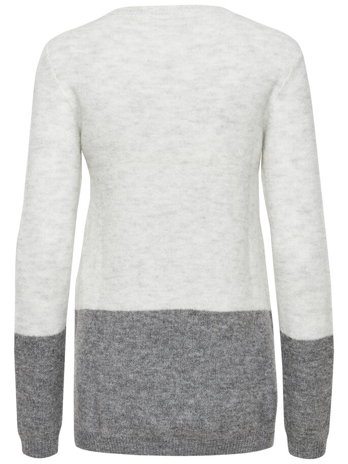 KONTRASTREICHER STRICKPULLOVER, Whitecap Gray, large