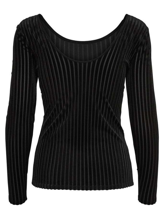 UNICOLOR TOP DE MANGA LARGA, Black, large