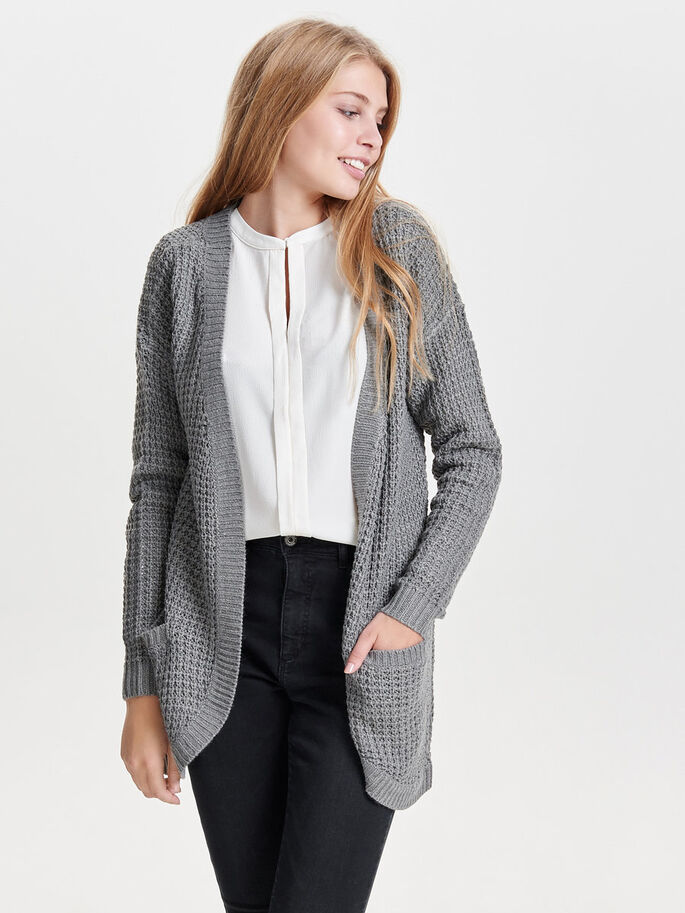 LONG KNITTED CARDIGAN, Medium Grey Melange, large