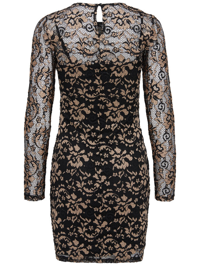 LACE GOLD LONG SLEEVED DRESS, Black, large