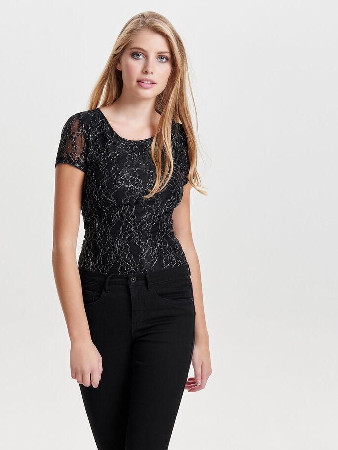 KANTEN TOP MET KORTE MOUWEN, Black, large