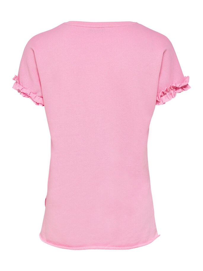 FRILL SHORT SLEEVED TOP, Prism Pink, large