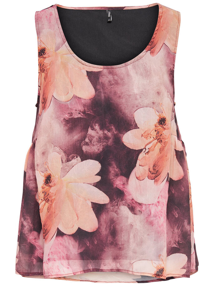 PRINTED SLEEVELESS TOP, Deep Mahogany, large