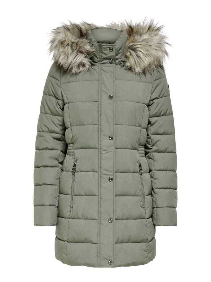 LONG QUILTED JACKET, Deep Lichen Green, large