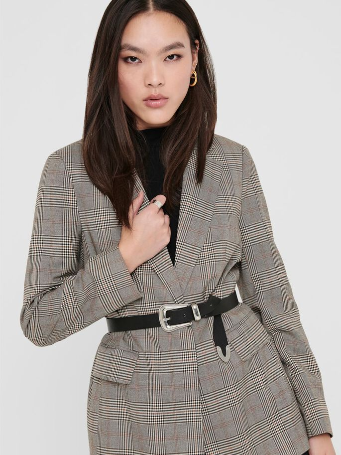 CHECKED BLAZER, Chicory Coffee, large
