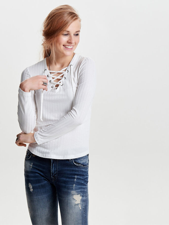 LACE-UP LONG SLEEVED TOP, Cloud Dancer, large
