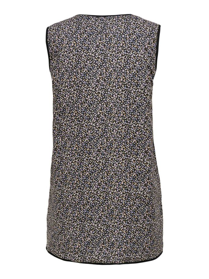 QUILTED LONG WAISTCOAT, Black, large