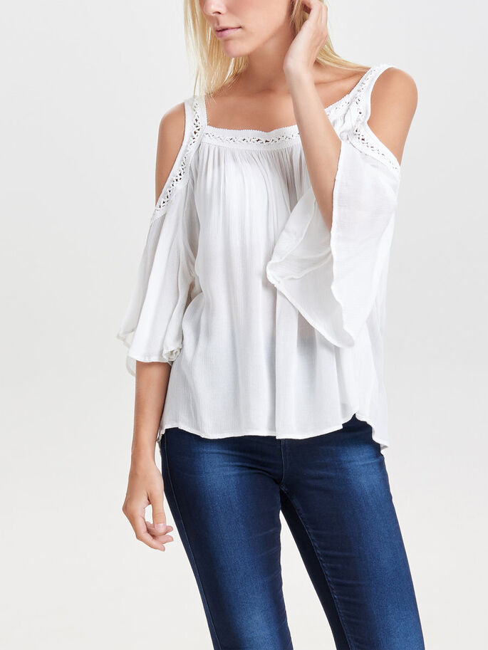 COLD-SHOULDER SHORT SLEEVED TOP, Cloud Dancer, large