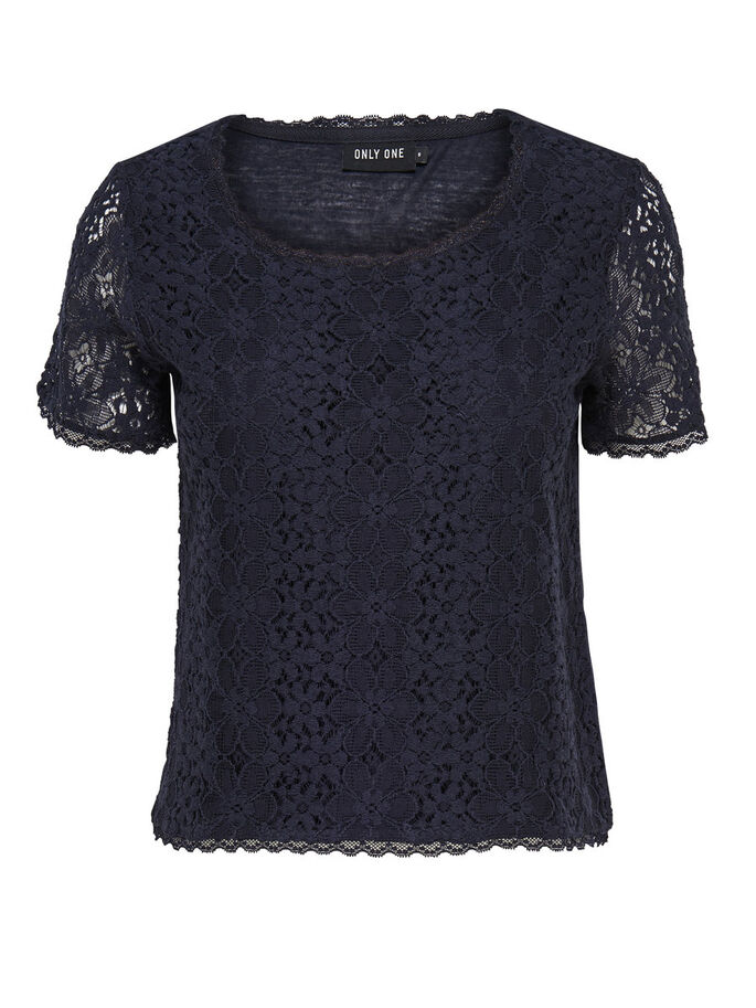 KANTEN TOP MET KORTE MOUWEN, Dark Navy, large