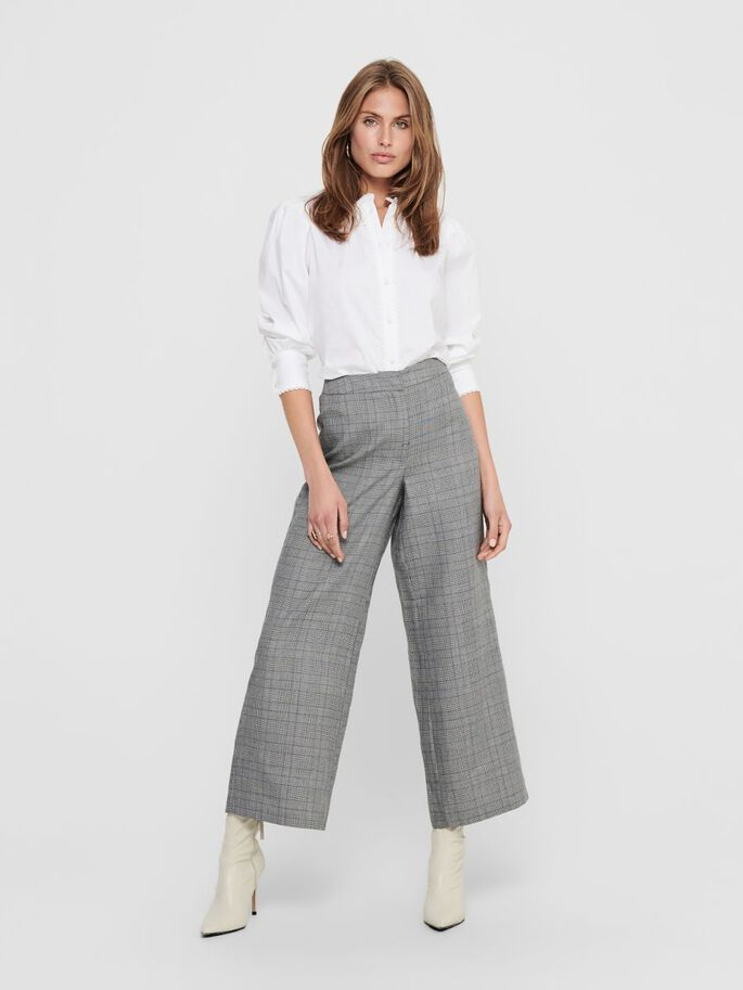 WIDE LEGS TROUSERS, Dark Grey Melange, large