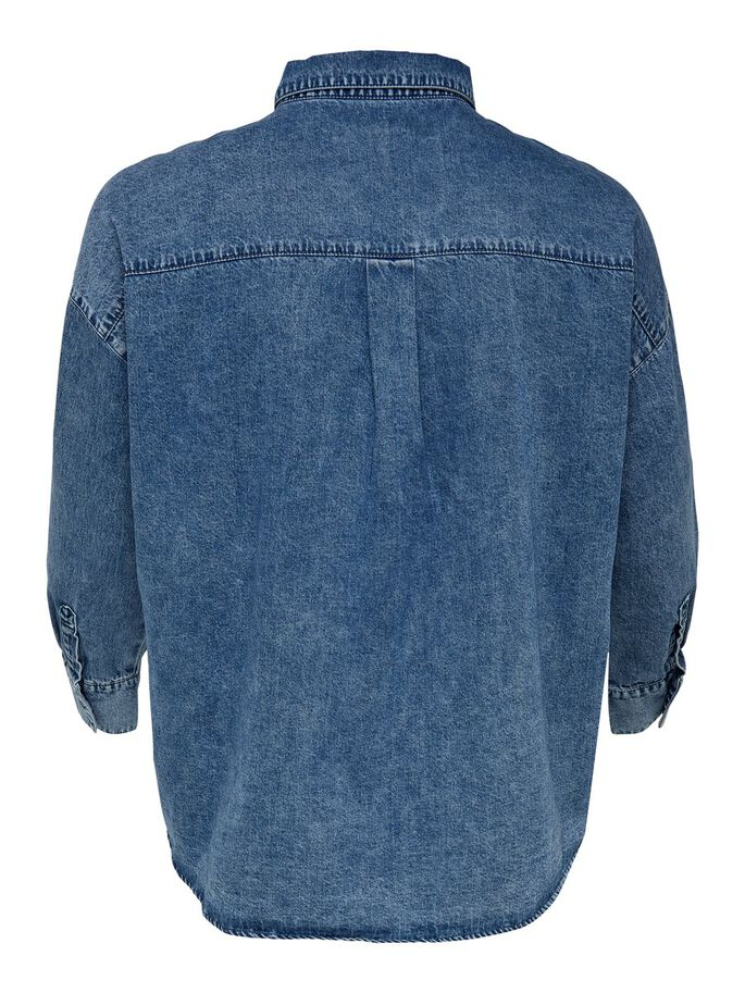 CURVY DENIM SHIRT, Medium Blue Denim, large