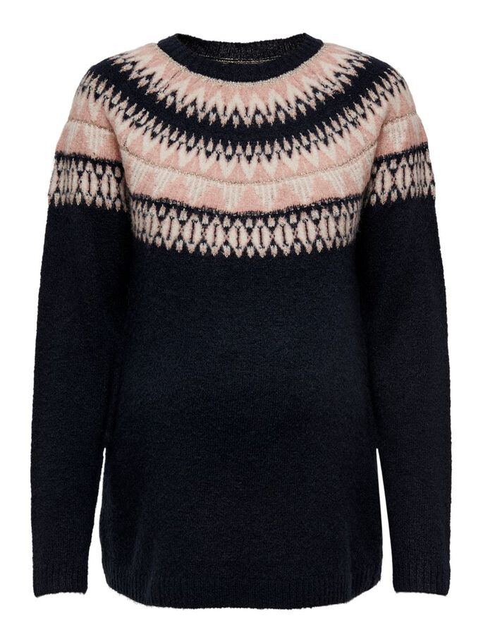 MAMA PATTERNED KNITTED PULLOVER, Night Sky, large